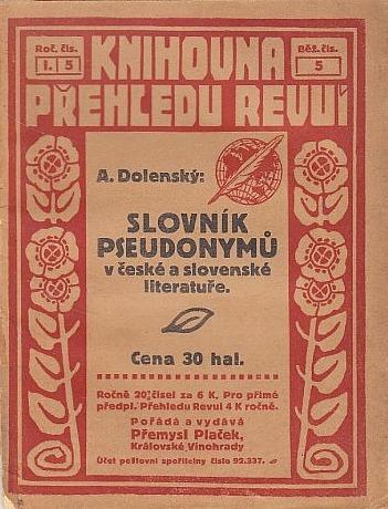 Antonín Dolenský: Slovník pseudonymů v české a slovenské literatuře