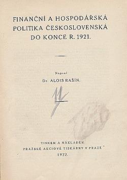 Finanční a hospodářská politika do konce roku 1921 obálka knihy