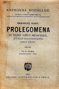 Prolegomena ke každé příští metafysice, jež bude moci vystoupiti jako věda obálka knihy