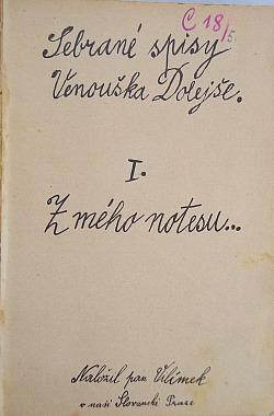 Sebrané spisy Venouška Dolejše I. z mého notesu obálka knihy