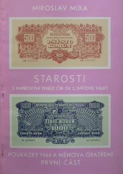 """Starosti s papírovými penězi ČSR za 2.světové války. Díl 1., """"Poukázky 1944"""" a různá měnová opatření / obálka knihy"""