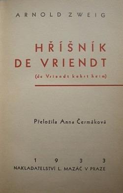 Hříšník de Vriendt obálka knihy