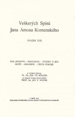 Veškeré spisy Jana Amosa Komenského XVII