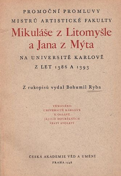 Promoční promluvy Mikuláše z Litomyšle obálka knihy
