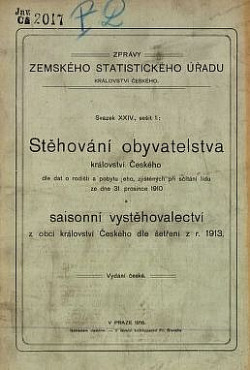 Stěhování obyvatelstva království Českého dle dat o rodišti a pobytu jeho, zjištěných při sčítání lidu ze dne 31. prosince 1910 obálka knihy