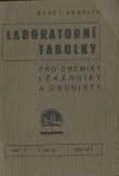 Laboratorní tabulky pro chemiky, lékárníky a drogisty