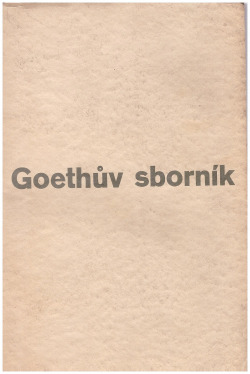Goethův sborník obálka knihy