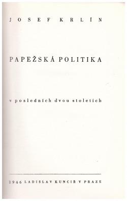 Papežská politika v posledních dvou století obálka knihy
