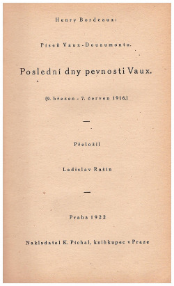 Poslední dny pevnosti Vaux obálka knihy