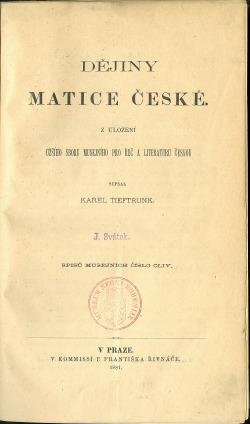 Dějiny Matice české obálka knihy
