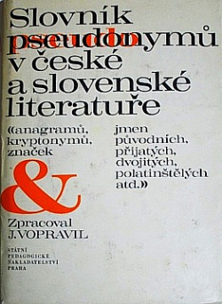 Slovník pseudonymů v české a slovenské literatuře obálka knihy