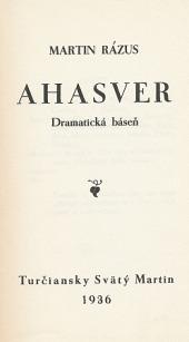Ahasver obálka knihy