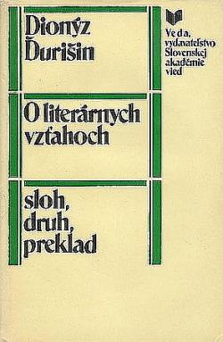 O literárnych vzťahoch - sloh, druh, preklad obálka knihy