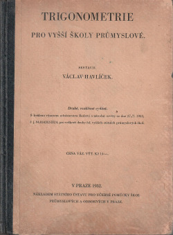 Trigonometrie pro vyšší školy průmyslové obálka knihy
