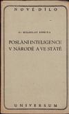 Poslání inteligence v národě a ve státě obálka knihy