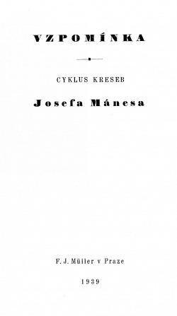 Vzpomínka na Josefa Mánesa obálka knihy