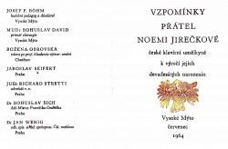Vzpomínka přátel Noemi Jirečkové