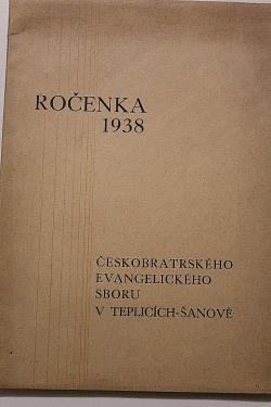 Ročenka 1938 českobratrského evangelického sboru v Teplicích - Šanově obálka knihy