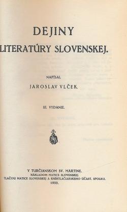 Dejiny literatúry slovenskej obálka knihy