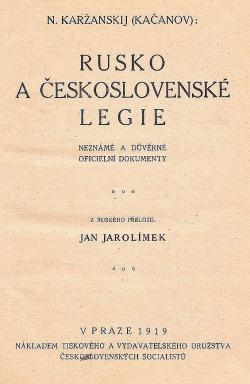 Rusko a Československé legie obálka knihy