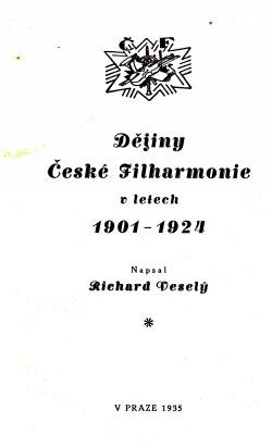 Dějiny České filharmonie 1901-1924 obálka knihy
