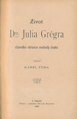 Život Dra. Julia Grégra obálka knihy