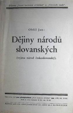 Dějiny národů slovanských (výjma národ československý) obálka knihy