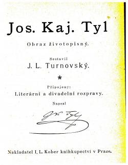 Josef Kajetán Tyl, obraz životopisný obálka knihy