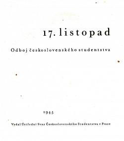 17. listopad : odboj československého studenstva obálka knihy