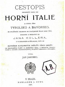 Cestopis do horní Itálie obálka knihy