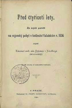Před čtyřiceti lety: Ze svých pamětí na vojenský pobyt v knížectví Valašském r. 1856
