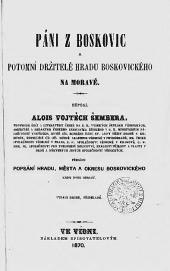 Páni z Boskovic a potomní držitelé hradu boskovického na Moravě obálka knihy