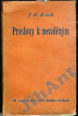 Proslovy k neviděným obálka knihy