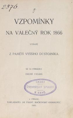 Vzpomínky na válečný rok 1866 vyňaté z pamětí vyššího důstojníka obálka knihy