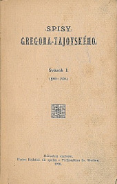 Spisy Gregora-Tajovského I. obálka knihy