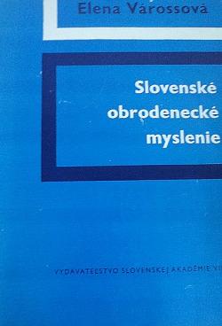 Slovenské obrodenecké myslenie obálka knihy