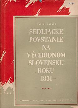 Sedliacke povstanie na východnom Slovensku roku 1831. Diel prvý, Dejiny obálka knihy