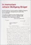 In memoriam Johann Wolfgang Brügel:  sborník z konference věnované Johannu Wolfgang Brügelovi, která se uskutečnila v Hustopečích,