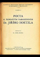 Pocta k šedesátým narozeninám Dr. Jiřího Hoetzla obálka knihy