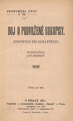 Boj o podvržené rukopisy obálka knihy