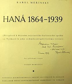 Haná 1864-1939 obálka knihy