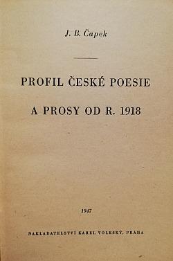 Profil české poesie a prosy od r. 1918 obálka knihy