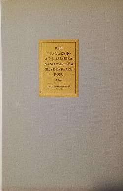 Řeči Františka Palackého a Pavla Josefa Šafaříka na Slovanském sjezdě v Praze roku 1848 obálka knihy