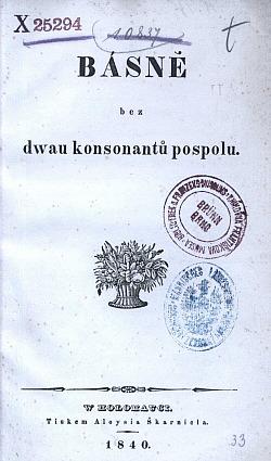Básně bez dwau konsonantů pospolu obálka knihy