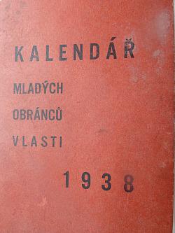 Kalendář mladých obránců vlasti 1938 obálka knihy