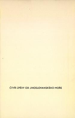 Čtyři zpěvy od jihoslovanského moře obálka knihy