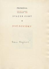 Dvě povídky obálka knihy